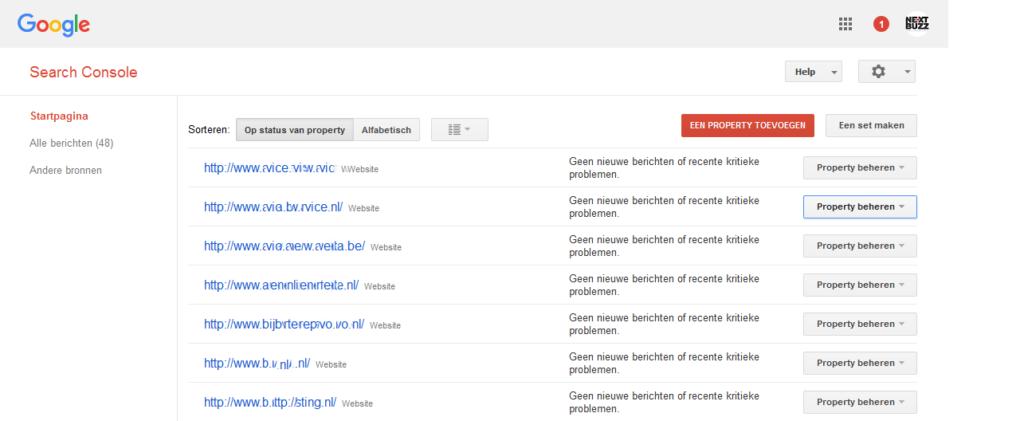 Beginscherm Google Search Console