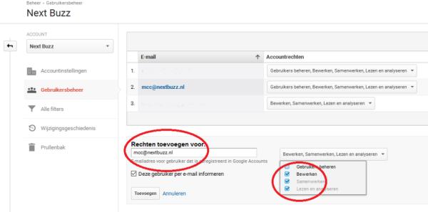 Google Analytics rechten toevoegen voor