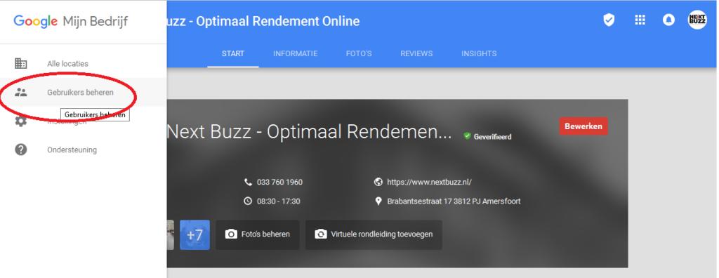 Google Mijn Bedrijf gebruikers beheren